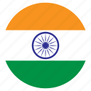 asia, country, flag, india, nation, round icon
