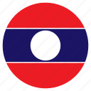asia, country, flag, laos, nation, round