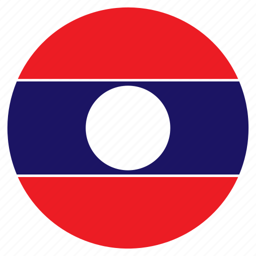 asia, country, flag, laos, nation, round icon