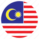asia, country, flag, malaysia, nation, round icon