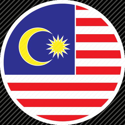 asia, country, flag, malaysia, nation, round icon