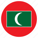 asia, country, flag, maldives, nation, round icon