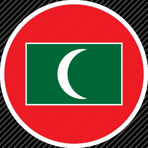 asia, country, flag, maldives, nation, round icon