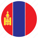 asia, country, flag, mongolia, nation, round icon