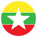 asia, country, flag, myanma, nation, round icon