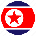 asia, country, flag, korea, nation, north, round icon