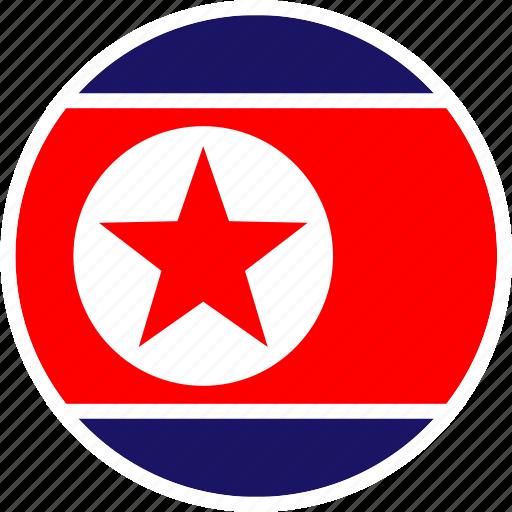 asia, country, flag, korea, nation, north, round icon