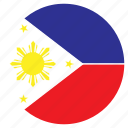asia, country, flag, nation, philippines, round icon