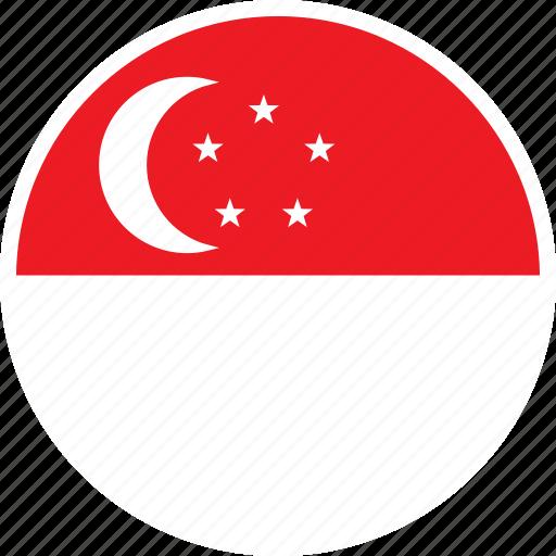 asia, country, flag, nation, round, singapore icon