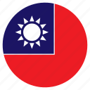 asia, country, flag, nation, round, taiwan icon