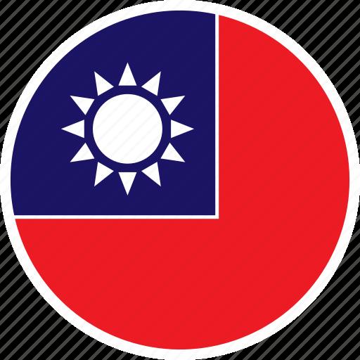 asia, country, flag, nation, round, taiwan icon