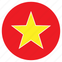asia, country, flag, nation, round, vietnam icon