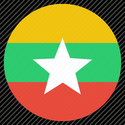 asian, burma, burmese, country, flag, myanmar, national icon