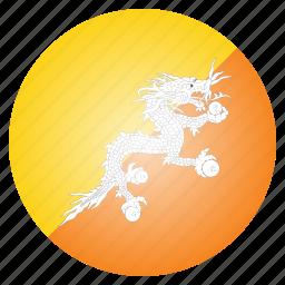 asian, bhutan, bhutanese, country, flag icon