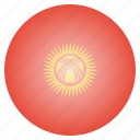 asian, country, flag, kyrgyzstan, national icon