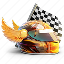 flag, helmet, race, racer, wing, winner icon