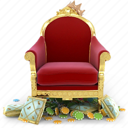 casino, chair, counter, crown, gold, seat, winner icon