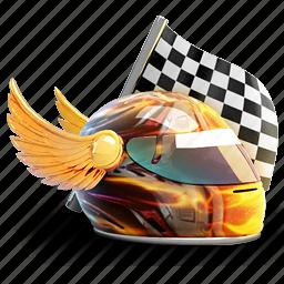 flag, helmet, race, racer, wing, winner icon
