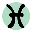 astrology, fish, gentle, pisces, sea, water, zodiac icon