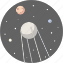 astronomy, moon, planets, space, sputnik, star, stars icon