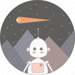 astronomy, comet, mountains, robot, science, space icon