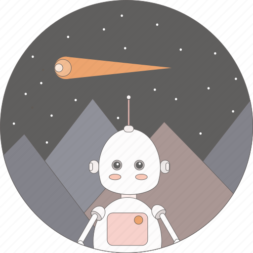 astronomy, comet, mountains, robot, space icon