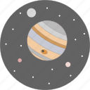astronomy, jupiter, moon, night, planet, space, stars icon