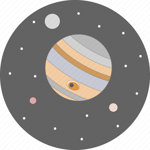 astronomy, jupiter, moon, night, planet, space, stars icon