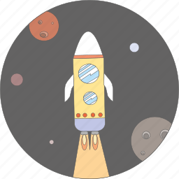 astronomy, cosmos, planet, planets, rocket, space icon
