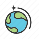 earth, moon, planet, sky, solar, space, sun icon
