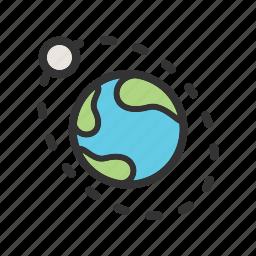 earth, moon, nasa, orbit, planet, science, space icon