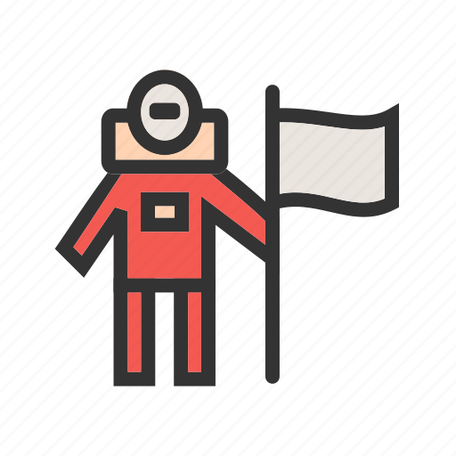 astronaut, flag, landing, man, moon, space, success icon