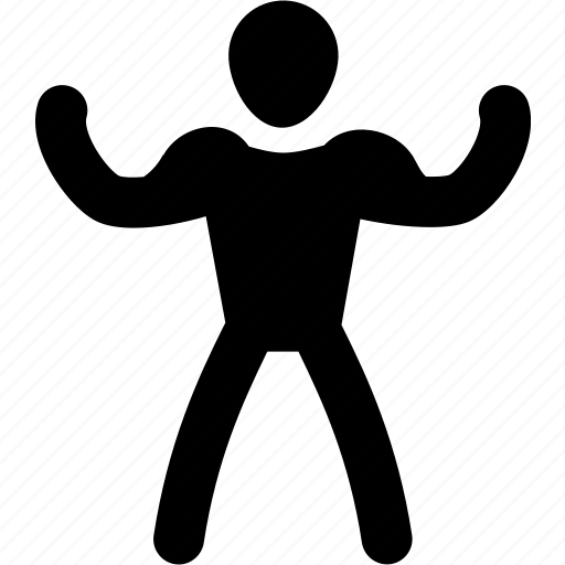 athlete, exercise, man, muscle, silhouette, strong icon