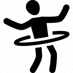 athlete, exercise, hoop, hula, silhouette, sport icon