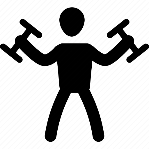 athlete, dumbbell, exercise, muscle, silhouette, sport, workout icon