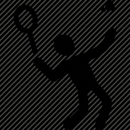 athlete, badminton, exercise, silhouette, sport icon