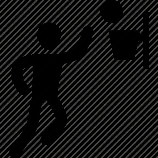 athlete, basketball, exercise, man, shoot, silhouette, sport icon