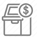 atm, cash, coin, currency, dollar, money, sign icon