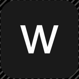 eng, english, keyboard, latin, letter, lowcase, w icon