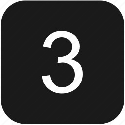 count, keyboard, number, third, three icon