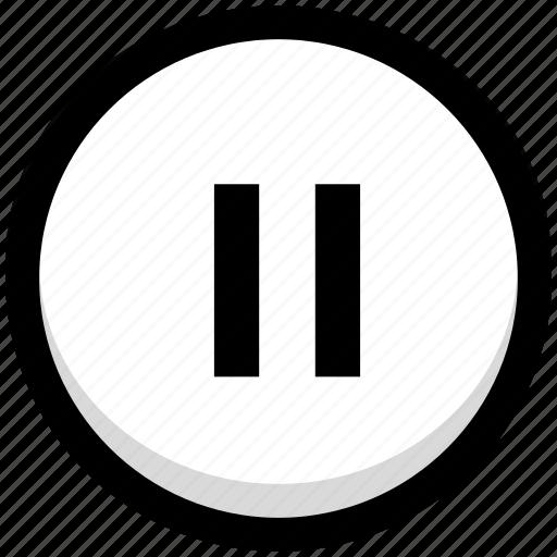 button, multimedia, pause icon