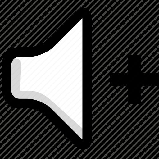 increase, multimedia, sound, speaker, volume icon