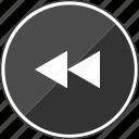 audio, back, exit, left, music, rewind icon
