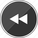 audio, back, exit, left, music, rewind icon