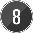 audio, eight, number, track icon