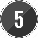 five, number, top, track icon