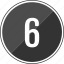 number, six, top, track icon