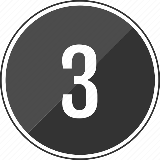 number, three, top, track icon