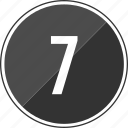 number, seven, top, track icon