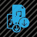 audio, download, file, music, sound icon